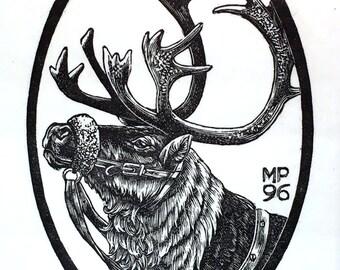 Reindeer, wood engraving