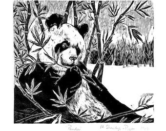 Panda wood engraving