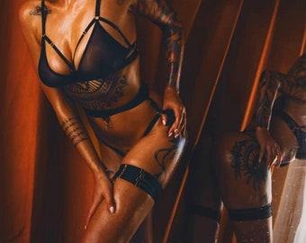 Leslie + garters - body harness set , black mesh lingerie, harness bra, bondage lingerie, strappy bra