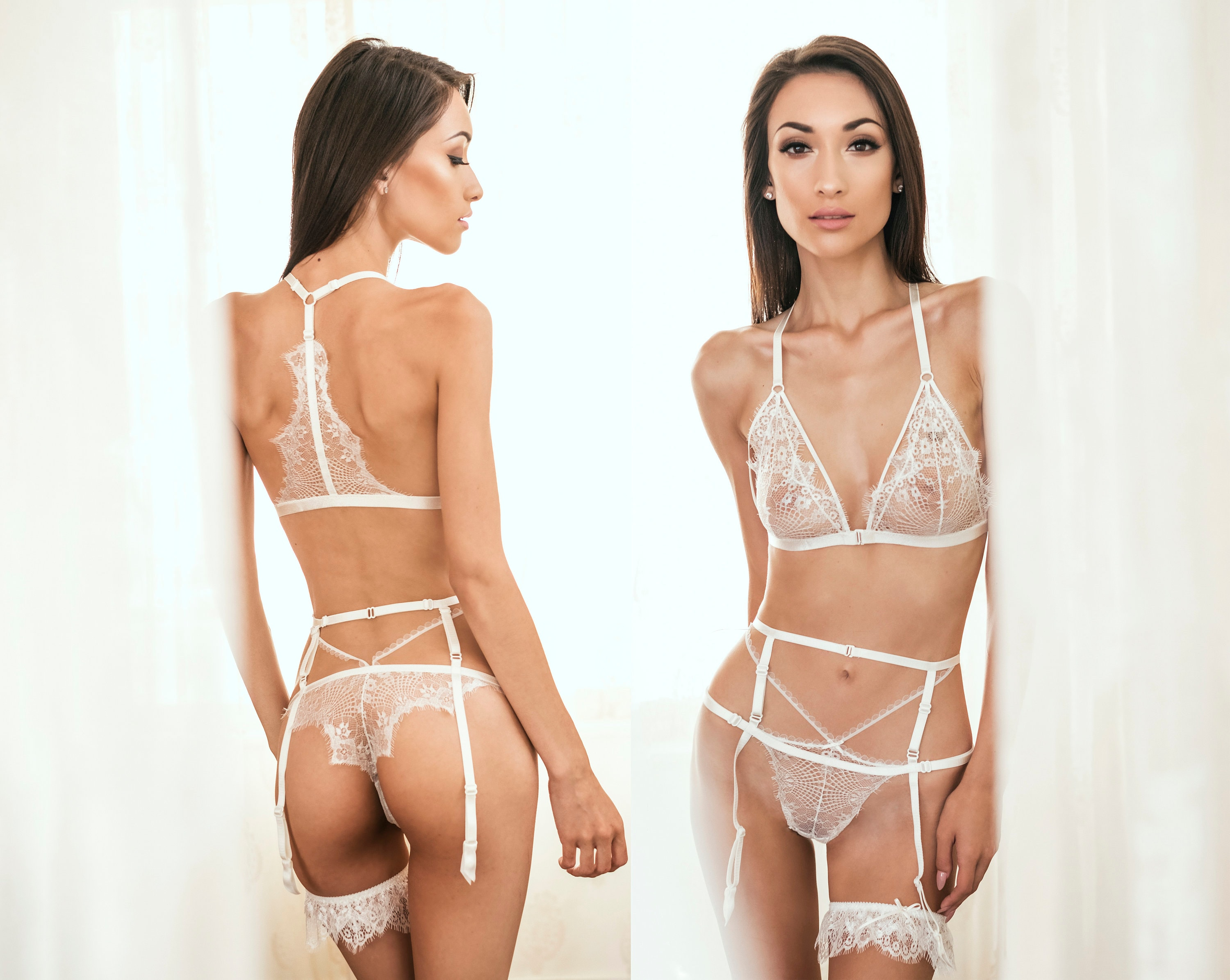 Through Lori Honeymoon LingerieSexy White Garters Bridal Wedding Sheer See IWHED29