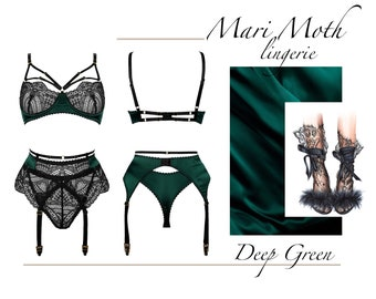 New luxury lingerie set - dark green silk with black soft elastic lace, branded gold hardware, limited edition