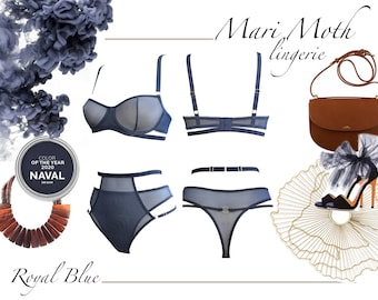 Naval blue mesh lingerie set