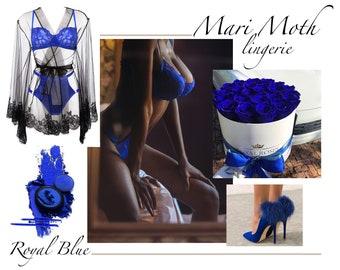 Royal blue silk lingerie set, lace lingerie, silk panties, see through bra, sheer bra, silk bralette,
