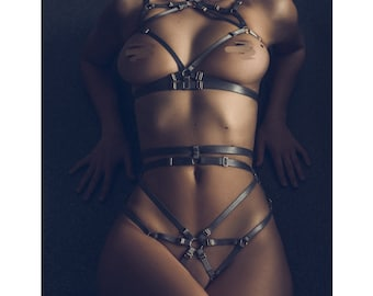 Emma- sexy body harness set, crotchless panties, cage bra, erotic lingerie
