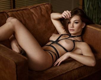 Artemy - black body harness lingerie, bondage,  sexy lingerie, erotic lingerie,crotchless panties,harness