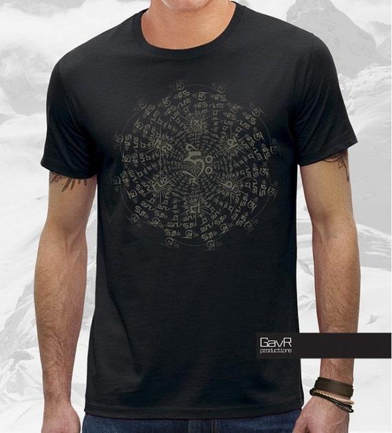 OM mani padme hum, original long sleeve for men, alternative clothing, secret geometry, psychedelic Shirt