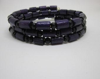 Purple and Black Beaded Bangle Bracelet, Black and Purple beaded cuff bracelet, Purple and black, Beaded bracelet, Purple and black jewelry