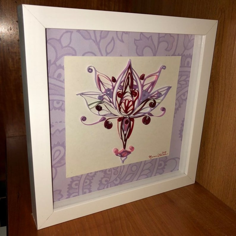 Quilling Lotus Flower Quilled Art Symmetrical Design Paper Art Etsy