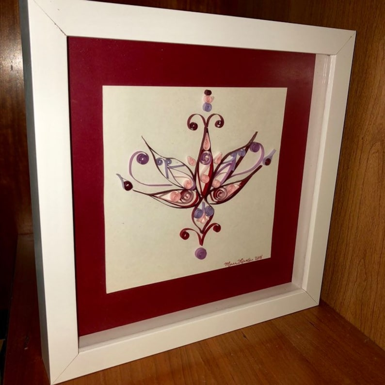 Quilling Modern Lotus Flower Quilled Symmetrical Design Paper Etsy