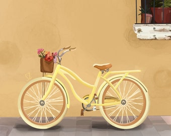 Yellow Bicycle and Flowers - handmade painting, canvas, print, living room, decor