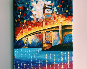 COLORFUL BRIDGE painting, original handmade work, bridge wall art, colorful wall art, abstract,  canvas art,  living room decor, cityscape