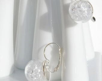 Glass globe earrings / clear rhinestones