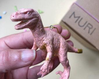 Pink Velociraptor Gold Tail Dinosaur Christmas Tree Ornament, Medium Christmas Tree Decor, Pink Christmas Gift, Glitter Gift Her, Dino Lover