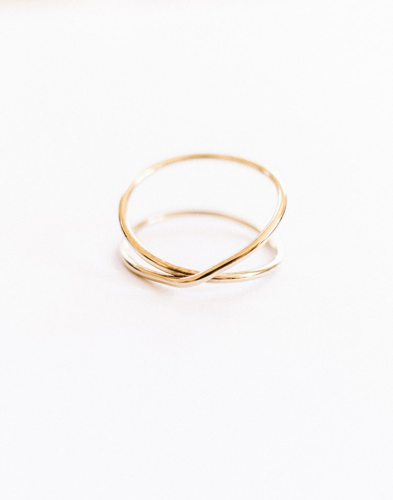 Thin Gold Ring Gold X Ring Criss Cross Ring Gold Stack Ring Super Thin Gold X Ring Gold Cross Ring Dainty Gold Ring Wire Wrap Ring