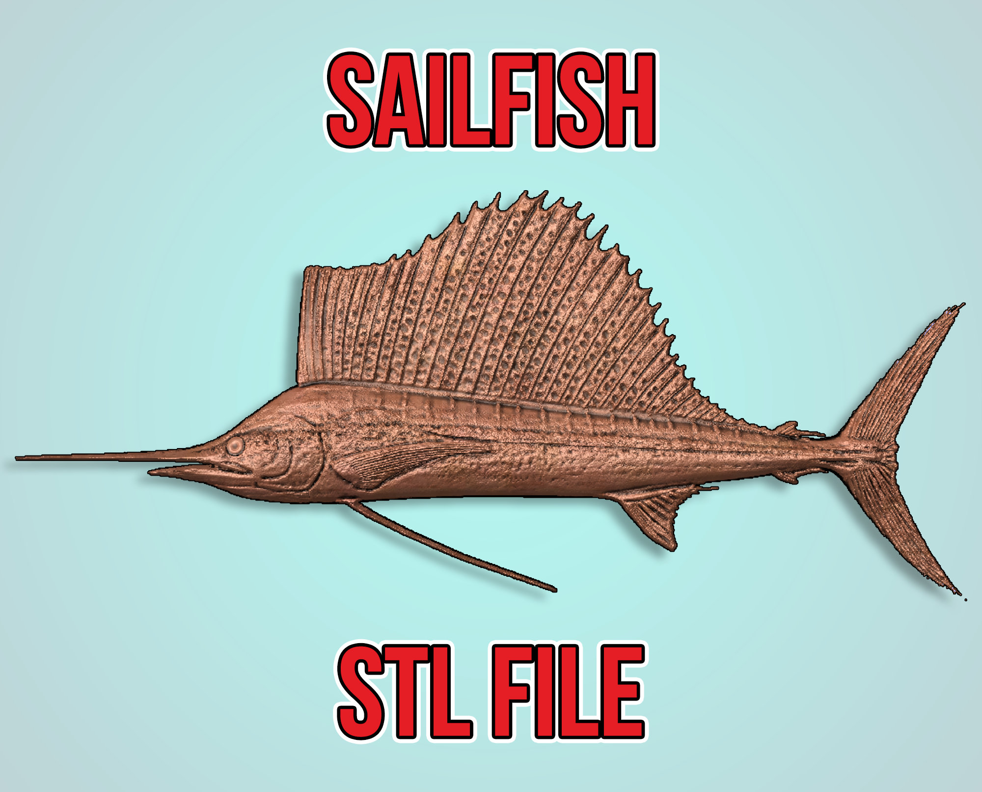 Sailfish 3d cnc pattern for your CNC router / STL file