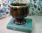 Vintage Green Ceramic Planter Avocado Drip Glaze Indoor Container Garden Mid Century Home Decor Non Profit Free Shipping