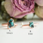 Raw Turquoise Ring, Rough Gemstone, Turquoise  stone copper ring, Unique December Birthstone ring, witchy ring, Rough gemstone ring