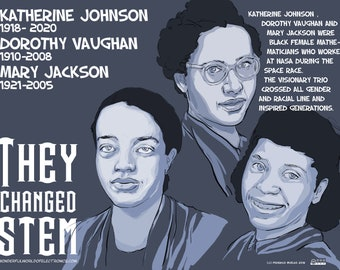 Katherine Johnson, Dorothy Vaughan and Mary Jackson digital Poster, SHE CHANGED STEM series. Downloadable file (Funding Campaign)