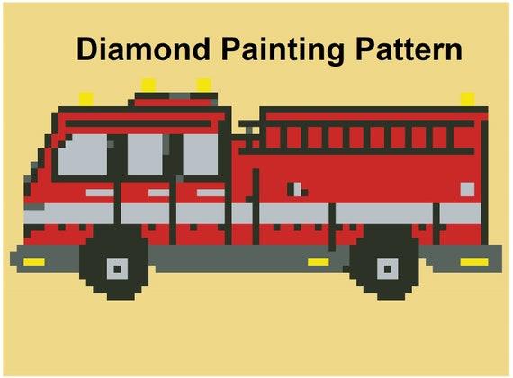 diamond painting pattern diamond art firetruck pattern fire etsy
