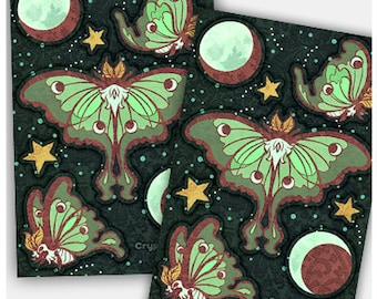 Luna Moths Stickers