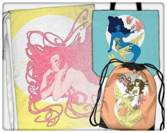Mermaid Princesses Bags (tote, cinch, sling, laundry)