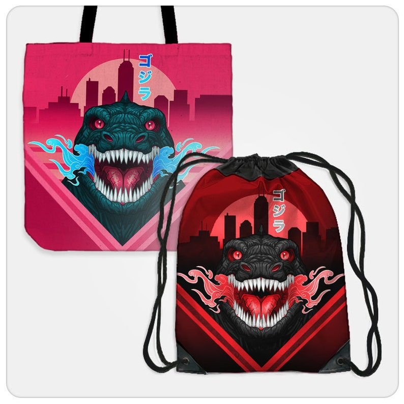 by Stablercake Godzilla Bags tote, cinch, sling, laundry