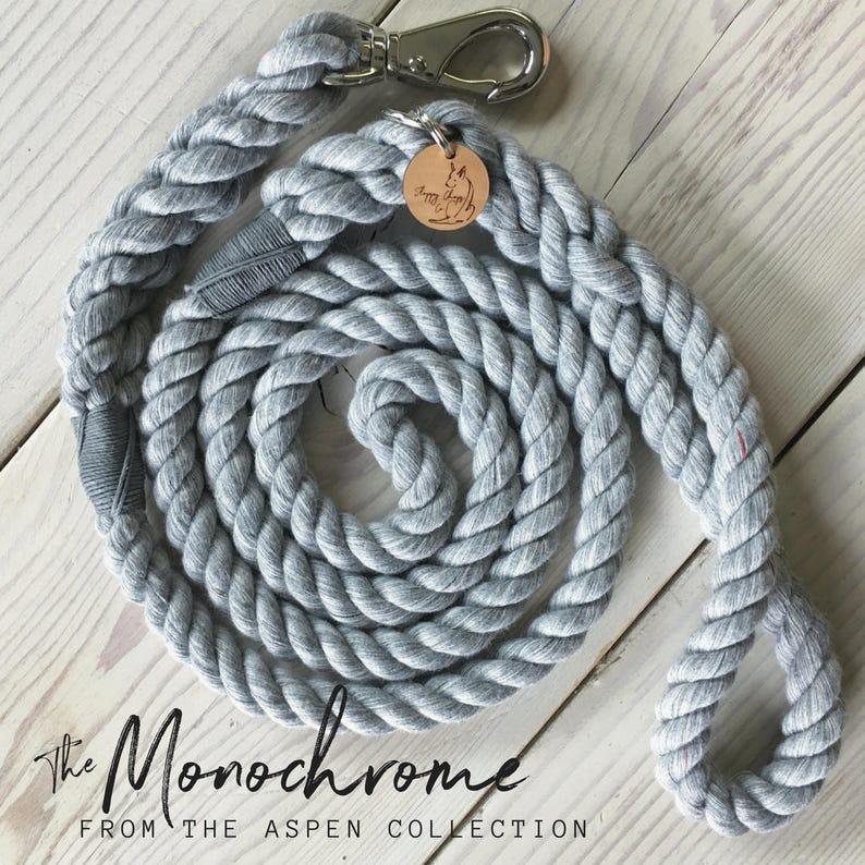 THE MONOCHROME Rope Dog Leash extra soft cotton dog lead image 0