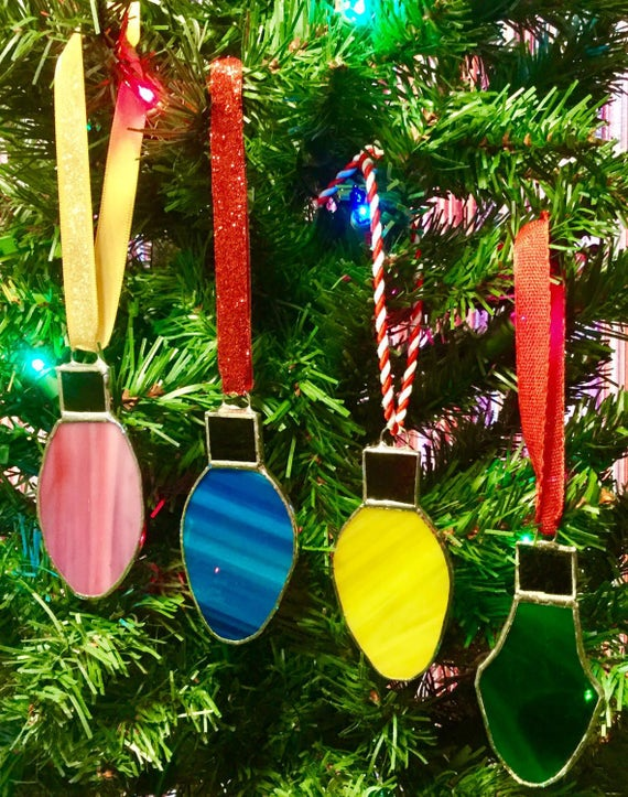 Stained Glass Light Bulb Christmas Tree Ornaments By Sparkle Stained Glass - Stained Glass Light Bulb Christmas Tree Ornaments By Sparkle Etsy