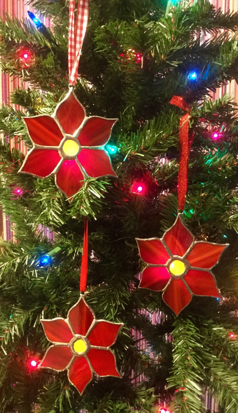 Pointsetta Christmas Tree.Stained Glass Christmas Poinsettia Christmas Tree Ornaments By Sparkle Stained Glass