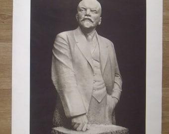 "Original Vintage Soviet Poster / Lenin Poster /28-21"" in. URSS Poster / Sculptor -Andreev / Publ.-Soviet Artist  / 1958s"