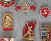 Soviet Vintage Enamel Pins Vintage Badges Lenin Samovar Hammer and Sickle Metal Badges Soviet Vintage 1970-80 39 s