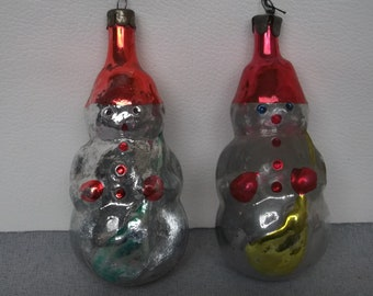 pair to the snow mans vintage xmas soviet russian christmas ornaments glass old decor soviet retro 1960s