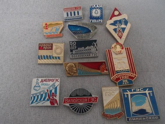 Vintage Enamel Badges / Soviet Hydroelectricity / Enamel Pins / Set Badges  / Soviet Vintage 1970-80's