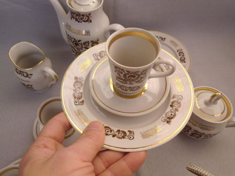 Vintage Coffee Set to 6 persons  Russian Porcelain  Coffee Cup Teapot  Saucers  Soviet Vintage 1970-80s