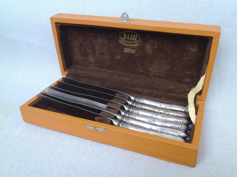 1950s Set vintage Dessert Knife / Melchior Dessert Knife in Box /Dinner Party Knife / Soviet vintage