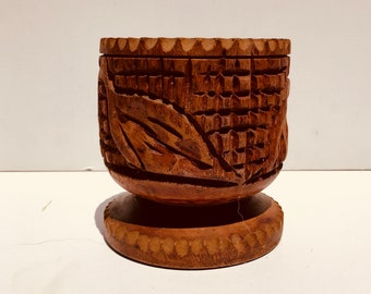 Early 20th Century Folk Art Hand Carved Shaving Cup