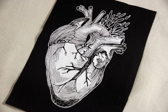 Screenprinted Heart Illustration Patch Black Cotton by Etsy