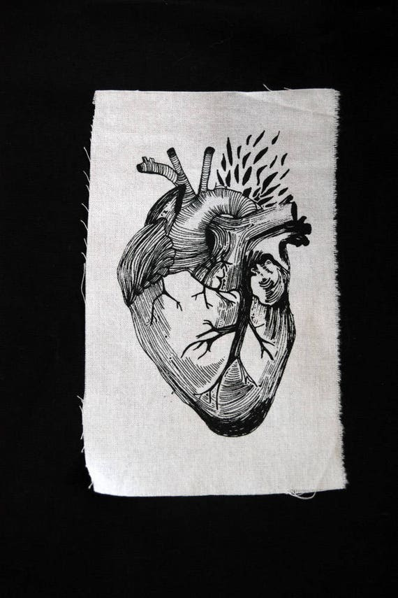 Screenprinted Heart Illustration Patch by Etsy