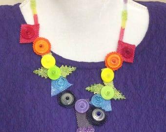 Rainbow Necklace / Beaded Necklace / Handmade Necklace / Geometric Necklace / OOAK Necklace