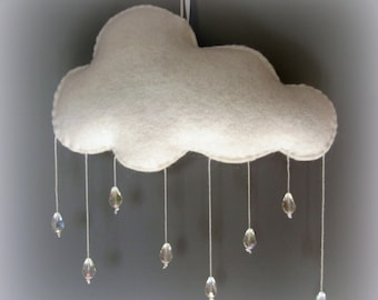 Rain Cloud Mobile with glass beads/ Nursery decoration