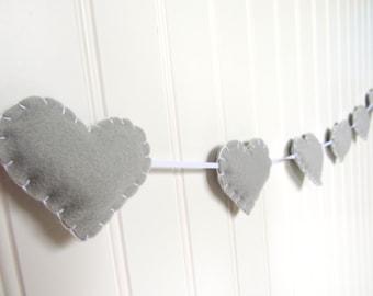 Heart banner / garland / bunting - light gray - Nursery decoration