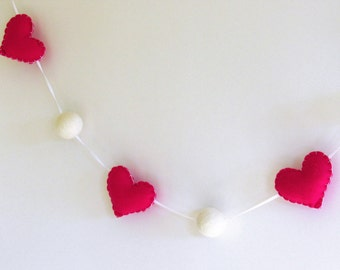 Valentine's day felt heart garland / bunting / banner with felt balls in dark pink