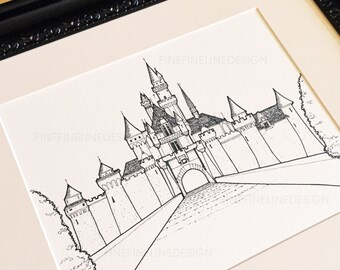Disney Sleeping Beauty Castle, Disneyland. Original ink drawing. 1 of 5 Artist's Collection. Add custom Quote/Text. 8x10. Free Shipping