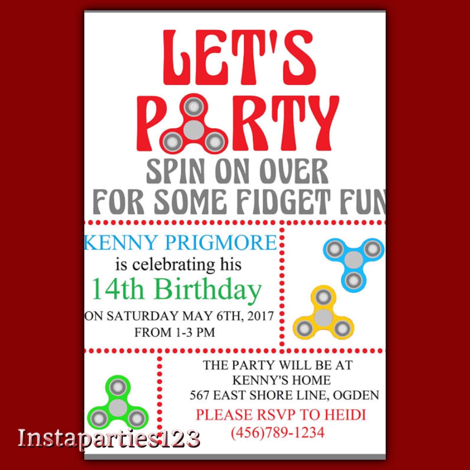 Digital EDITABLE Fidget Spinner Birthday Let\'s Party | Etsy