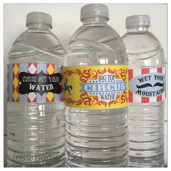 Circus themed Under The Big Top Personalized Water Bottle labels Digital File
