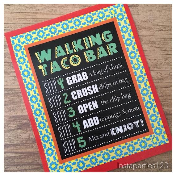 Digital Walking Taco Bar Menu Sign Poster Instant Download Etsy