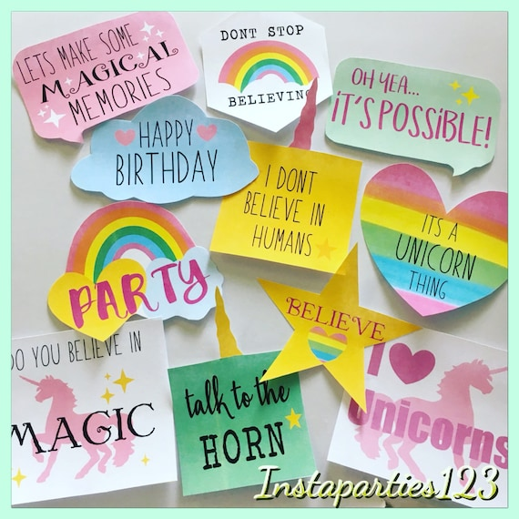 Digital Rainbow Unicorn Photo Booth Props 18 Props 1 Poster Etsy