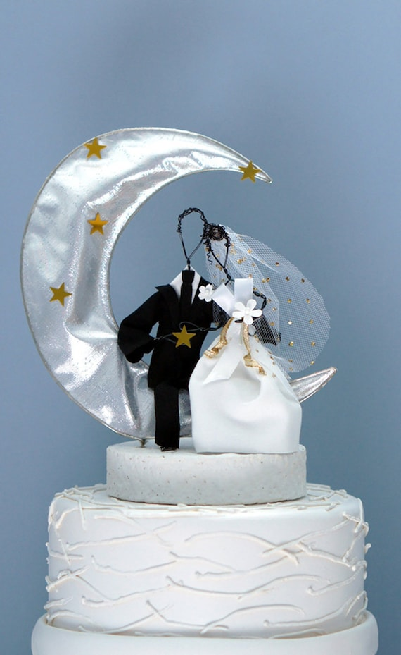 Moon and stars wedding cake topper starry night cake topper | Etsy