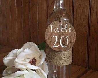 Wine Bottle Table Numbers/Wedding Centerpieces/Decor/Table Numbers/Wine Bottle w/wood Table Numbers/Rustic Wine Bottle Table Numbers