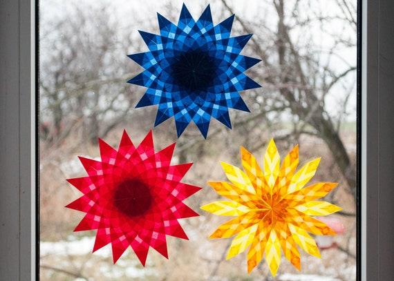 Waldorf Window Stars set 3 blue red yellow stars kite paper | Etsy